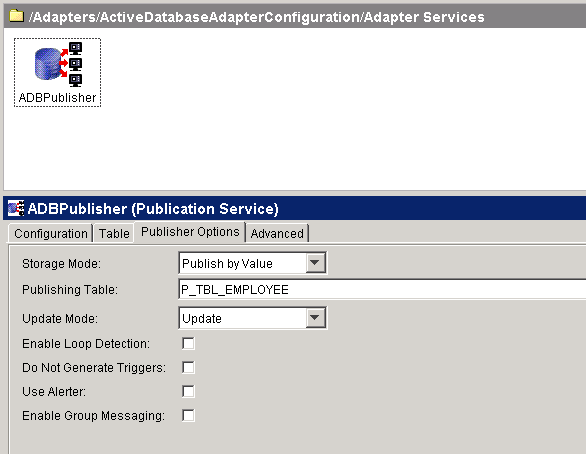 adapter publisher options setting