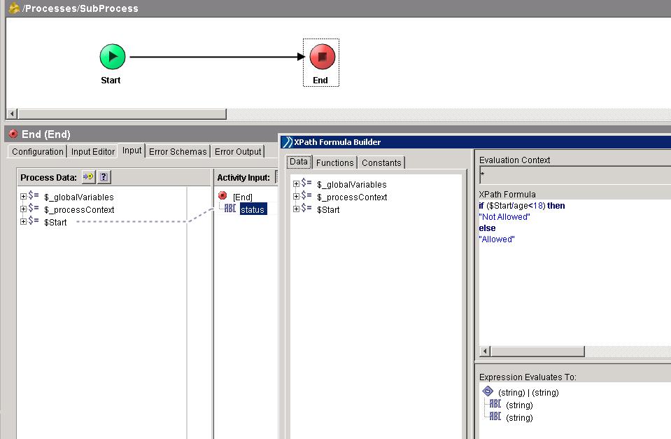 output status field xpath