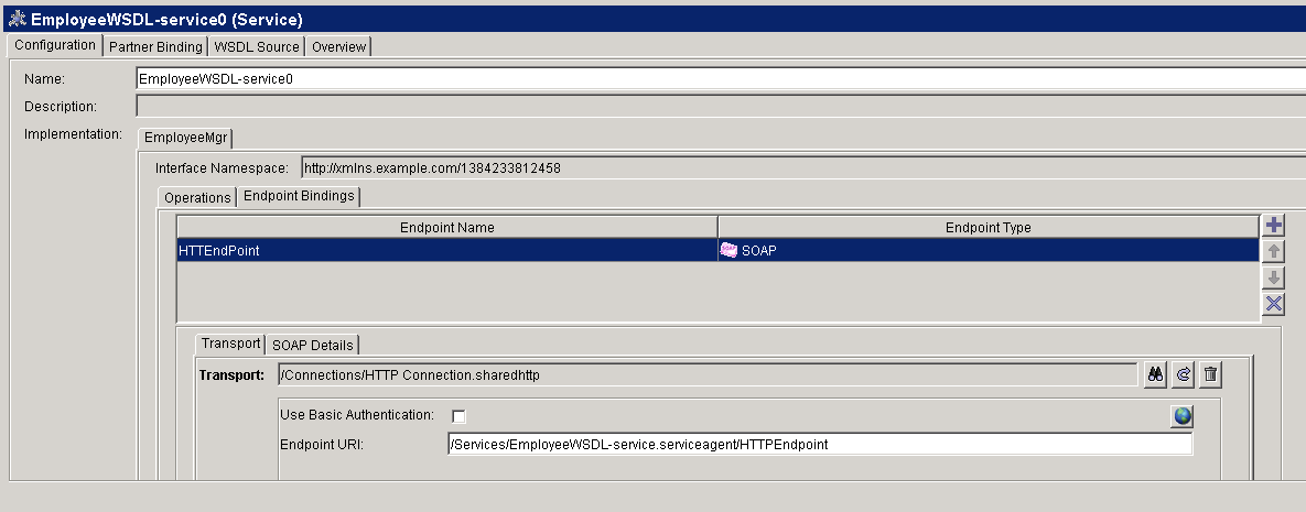 service endpoint name and uri setting