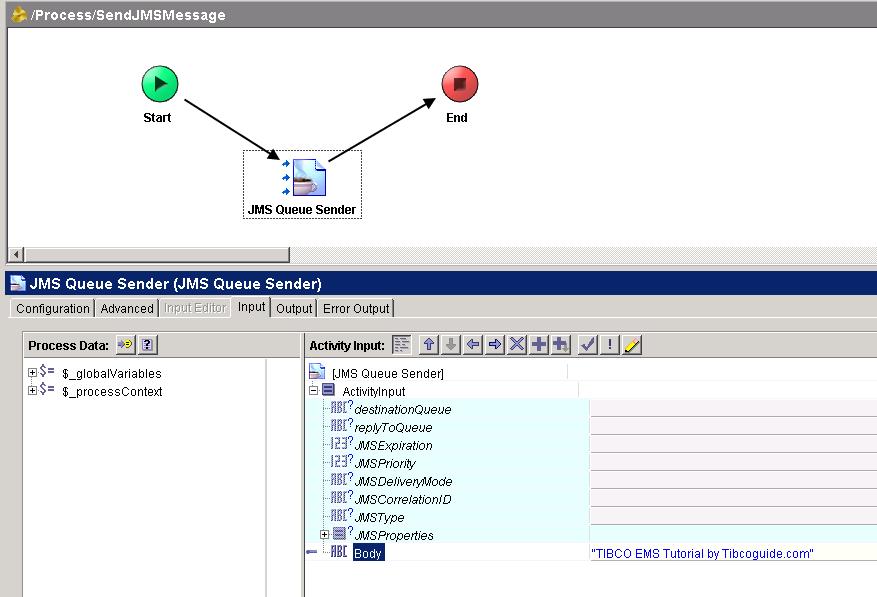 tibco jms queue sender input mapping