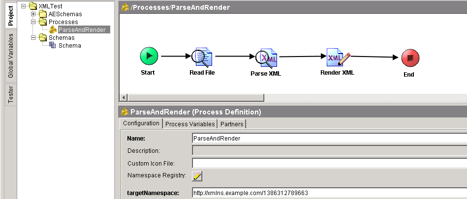 parse and render xml process