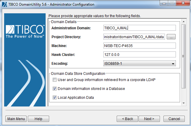 TIBCO domain details
