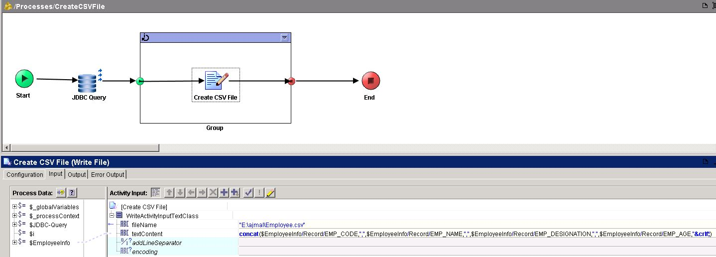 TIBCO Tutorial: Create CSV File In TIBCO Designer BW Process