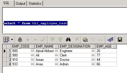 csv data stored in db table using tibco