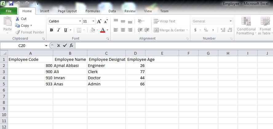csv output data in excel sheet