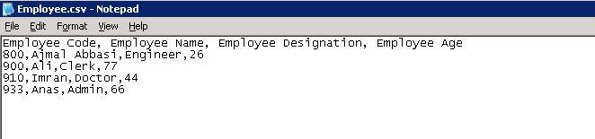 csv output data