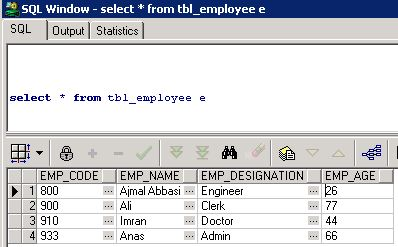 database table entries