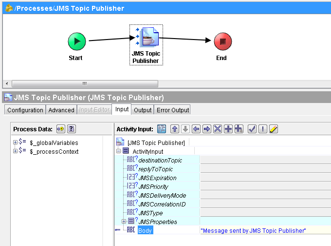 jms topic publisher input mapping