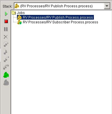 load rv publisher and rv subscriber processes in tibco designer tester