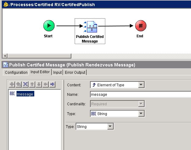 tibco certified rv publish message input editor