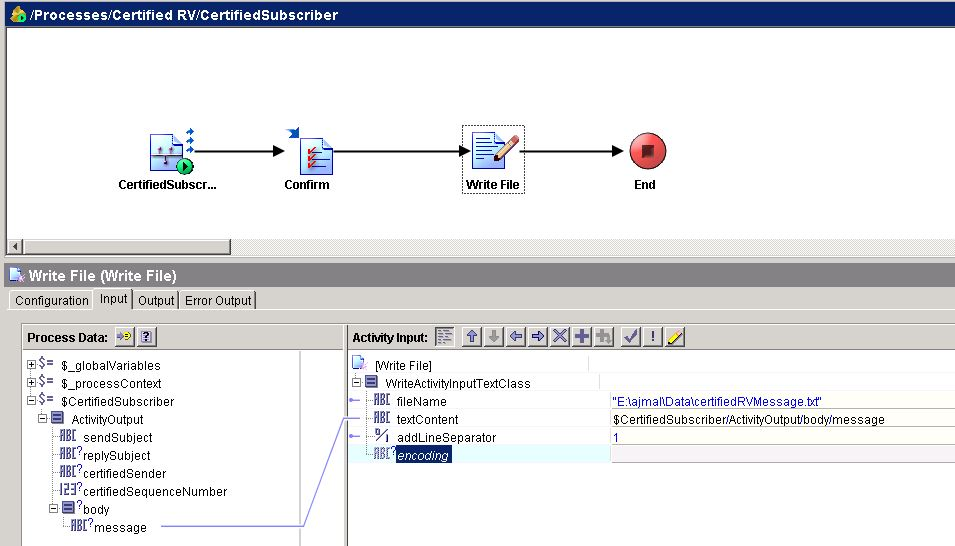 tibco certified rv write file input mapping