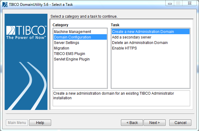 tibco create domain select category and task
