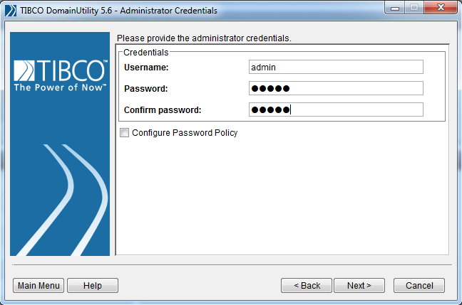 tibco domain configure user and password