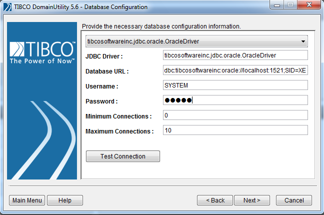 tibco domain database configuration