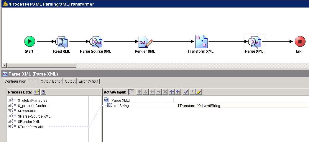 tibco parse target xml input mapping