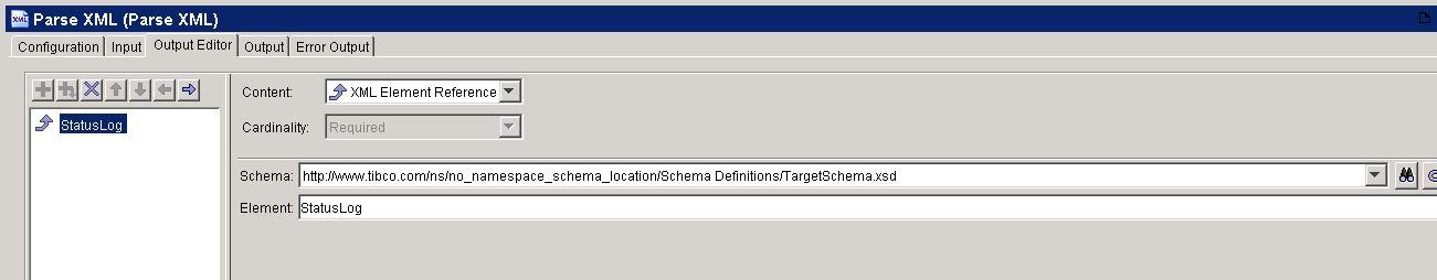 tibco parse target xml output editor