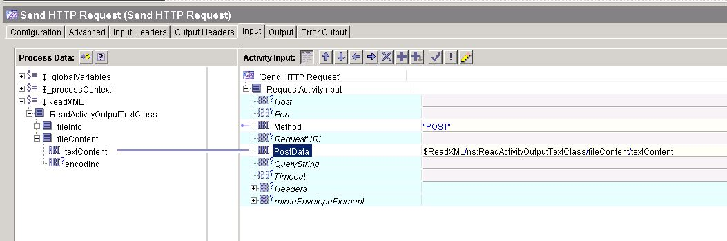 tibco send http post data input mapping
