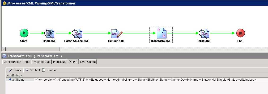 tibco tester transform xml output