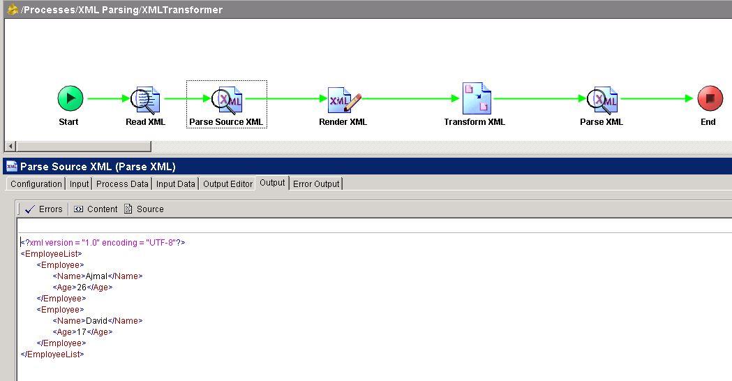 tibco xslt tester parse source xml output