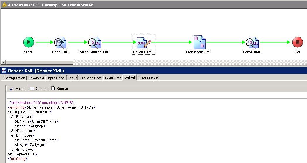 tibco xslt tester render xml output