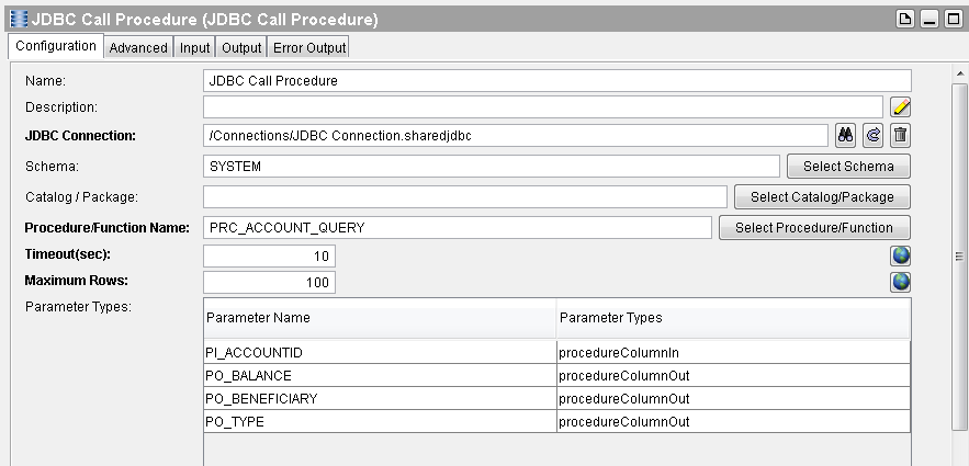jdbc call procedure configuration
