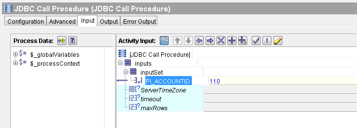 jdbc call procedure input