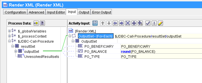 jdbc call procedure render xml input mapping