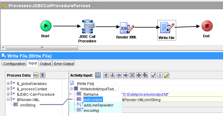 jdbc call procedure write output to file