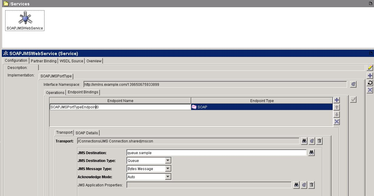 tibco jms web service transport configuration