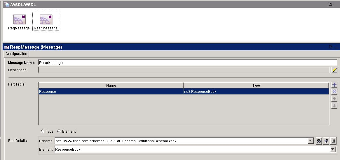 tibco soap jms service wsdl response message