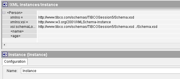 tibco xml instance with schema set