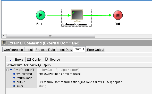tibco designer tester external command run