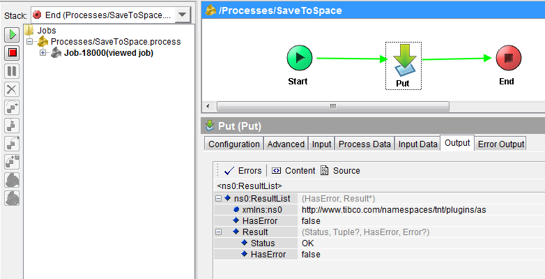tibco activespace test put process in designer