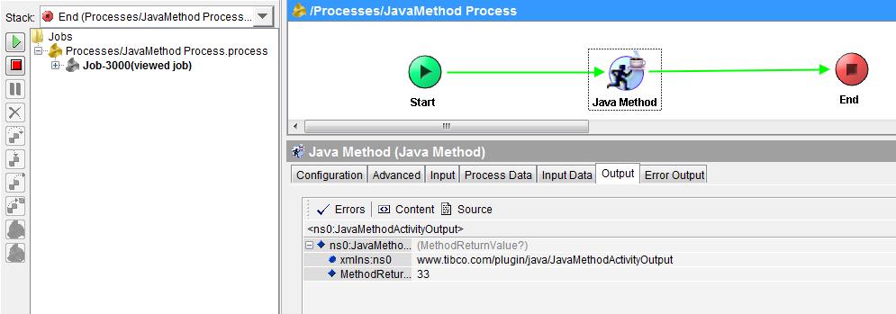 tibco java method output
