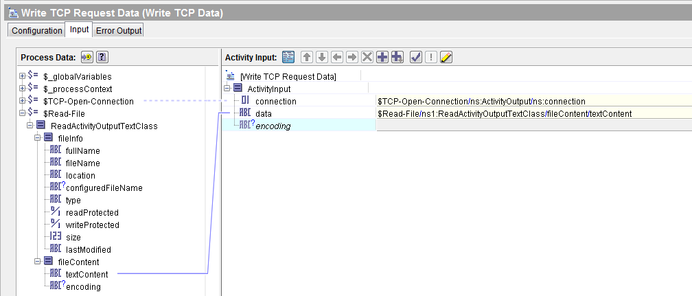 TCP Client Write data input mapping