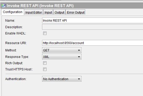 invoke rest api configuration