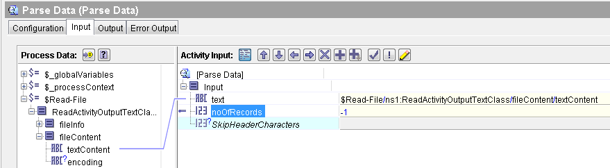 parse data input mapping tibco