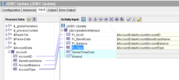 parse data tibco store to database input mapping