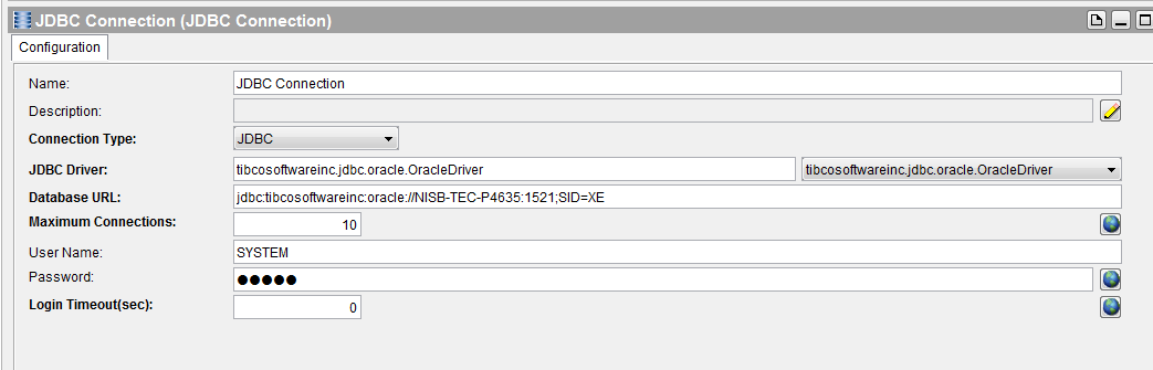 tibco restful service jdbc connection to oracle