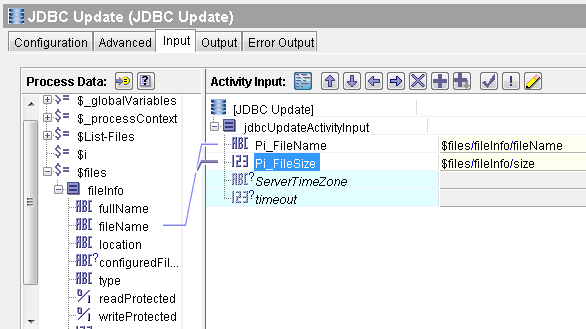 tibco add file details to database