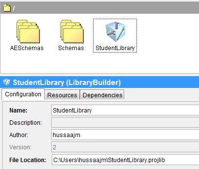 project libarary configuration screenshot