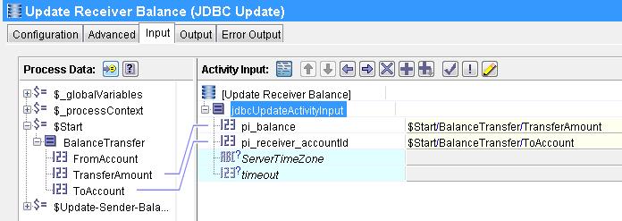 receiver jdbc update input mapping