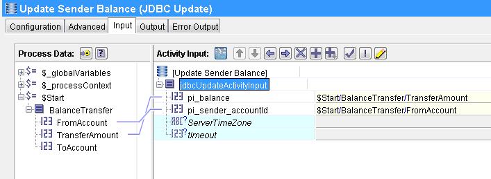 sender jdbc update input mapping