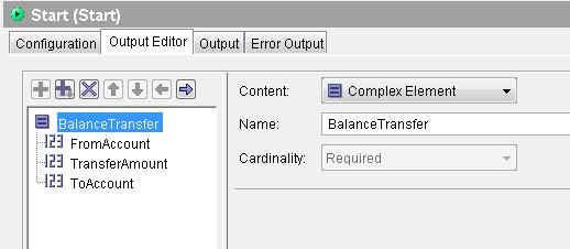 start output editor complex element