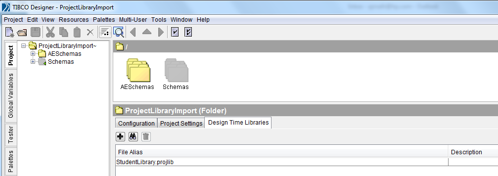 tibco design time libraries import library