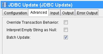 tibco jdbc batch update advanced tab