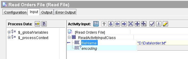 tibco read file input mapping example