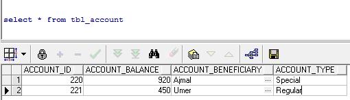 database sample records