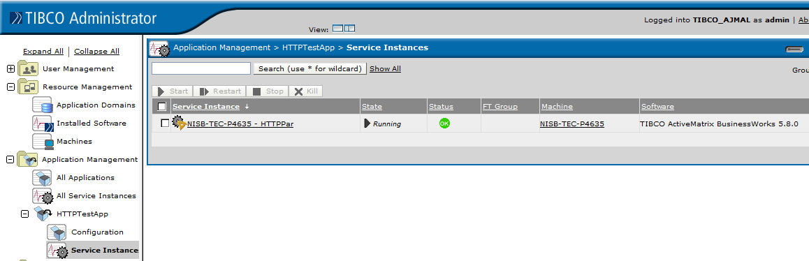 deployed application using appmanage in tibco